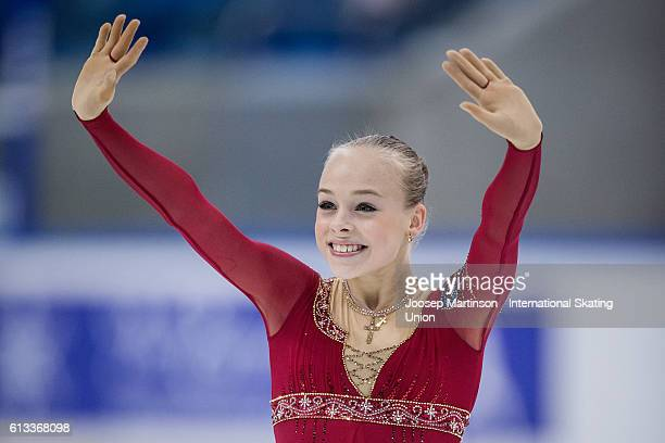 Anastasiia Gubanova of Russia reacts after competing in the Junior Ladies Free Skating on day three of the ISU Junior Grand Prix of Figure Skating on...