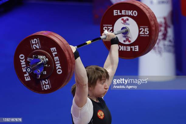 Anastasiia Romanova of Russia competes in the Women's 76 kg final within the Weightlifting European Championships 2021 in Moscow, Russia on April 08,...