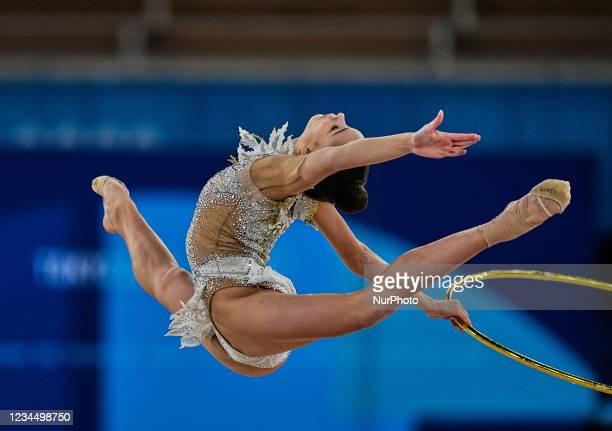 Anastasiia Salos during Rhythmic Gymnastics at the Tokyo Olympics, Ariake Gymnastics arena, Tokyo, Japan on August 6, 2021.