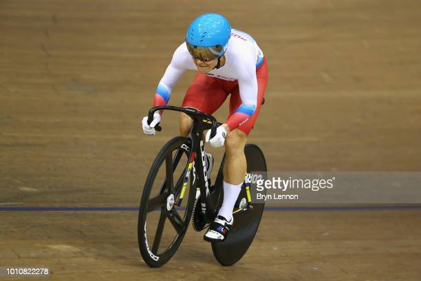Anastasiia Voinova of Russia competes in the Sprint Women 1/8 final on Day 3 of the European Championships Glasgow 2018 in the Track Cycling at Sir...