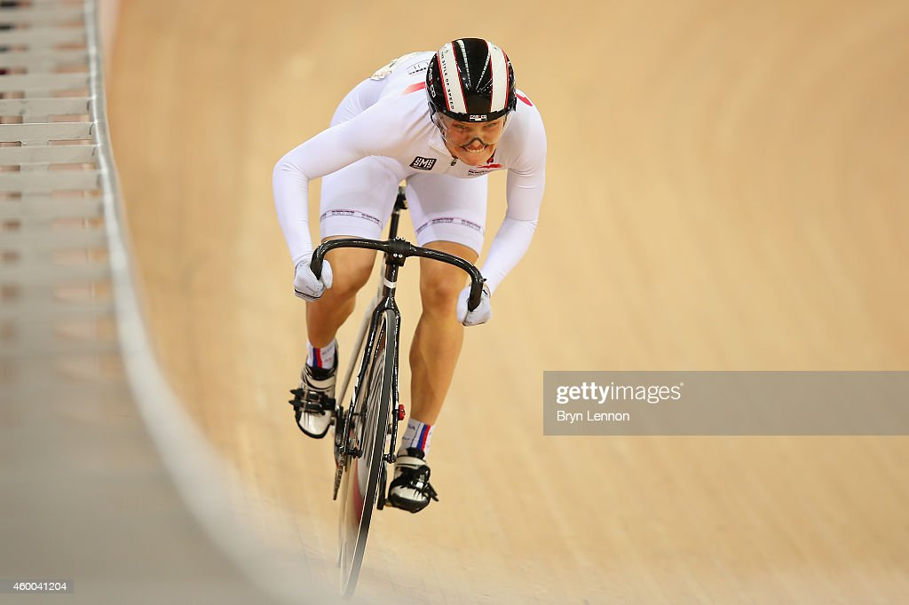 Anastasiia Voinova of Russia in action during the Women's Sprint Qualifying Session on day two of the UCI Track Cycling World Cup at the Lee Valley Velopark Velodrome on December 6, 2014 in London, England.