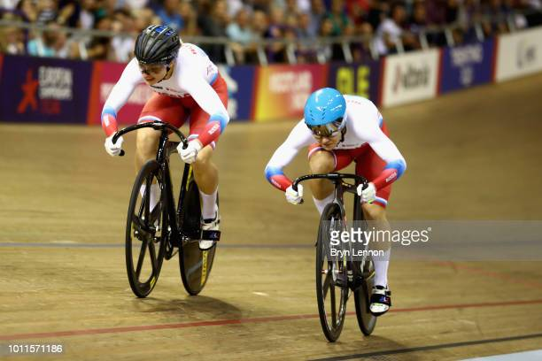 Anastasiia Voinova of Russia races against Daria Shmeleva of Russia in the second race of the final of the Women's Sprint during the track cycling on...