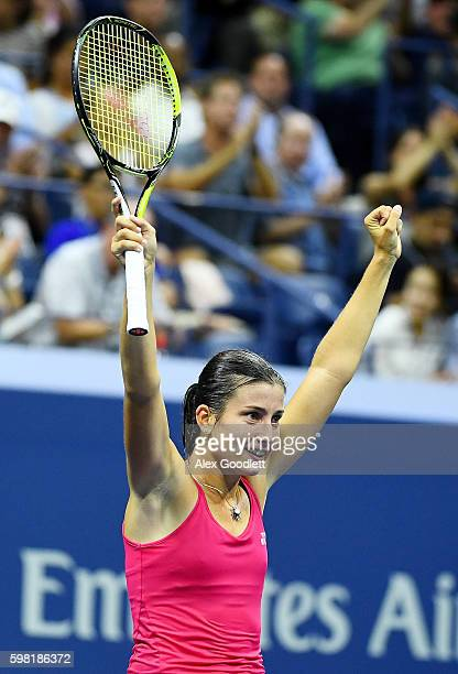 Anastasija Sevastova of Lativa celebrates defeating Garbine Muguruza of Spain during her second round Women's Singles match on Day Three of the 2016...