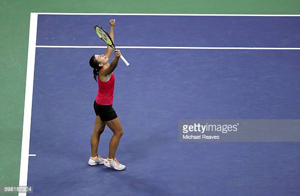 Anastasija Sevastova of Lativa celebrates her victory over Garbine Muguruza of Spain during her second round Women's Singles match on Day Three of...
