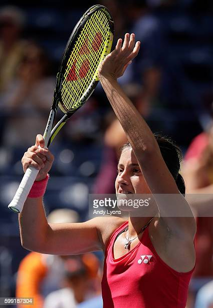 Anastasija Sevastova of Lativa celebrates her win over Johanna Konta of the United Kingdom during her fourth round Women's Singles match on Day Seven...