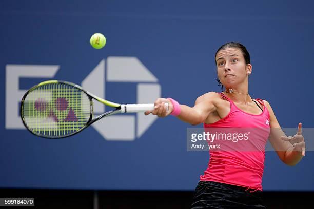 Anastasija Sevastova of Lativa returns a shot to Johanna Konta of the United Kingdom during her fourth round Women's Singles match on Day Seven of...