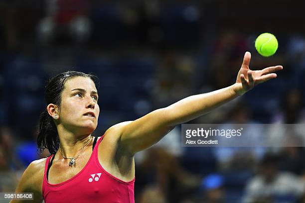 Anastasija Sevastova of Lativa serves to Garbine Muguruza of Spain during her second round Women's Singles match on Day Three of the 2016 US Open at...