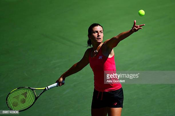 Anastasija Sevastova of Lativa serves to Kateryna Bondarenko of the Ukraine during her third round Women's Singles match on Day Five of the 2016 US...
