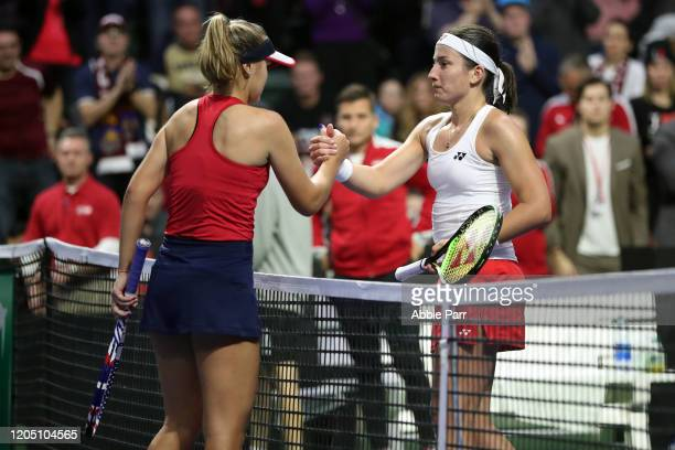 Anastasija Sevastova of Latvia and Sofia Kenin of the United States shake hands after their match during the 2020 Fed Cup qualifier between USA and...