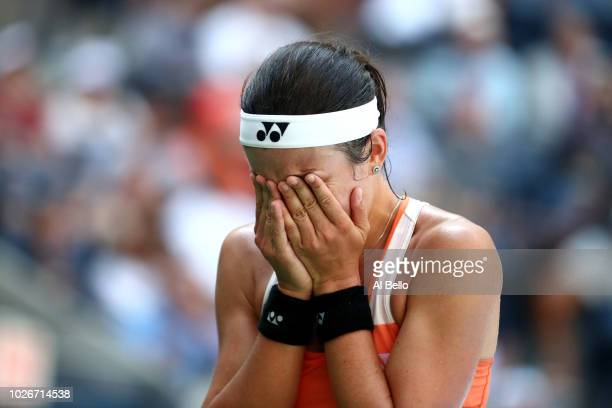 Anastasija Sevastova of Latvia celebrates at match point during the ladies singles quarterfinal match against Sloane Stephens of The United States on...