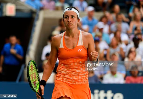 Anastasija Sevastova of Latvia celebrates beatingt Sloane Stephens of the United States in the quarter finals of the US Open at the USTA Billie Jean...