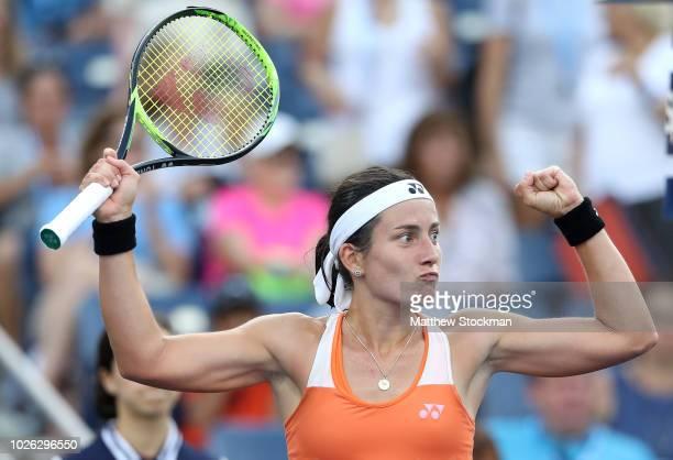 Anastasija Sevastova of Latvia celebrates during her women's singles fourth round match against Elina Svitolina of Ukraine on Day Seven of the 2018...