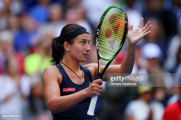 Anastasija Sevastova of Latvia celebrates her women's singles fourth round match victory over Maria Sharapova of Russia on Day Seven of the 2017 US...