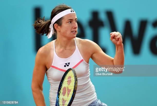 Anastasija Sevastova of Latvia celebrates match point during the Women's Single's Round of 32 match between Anastasija Sevastova and Johanna Konta...