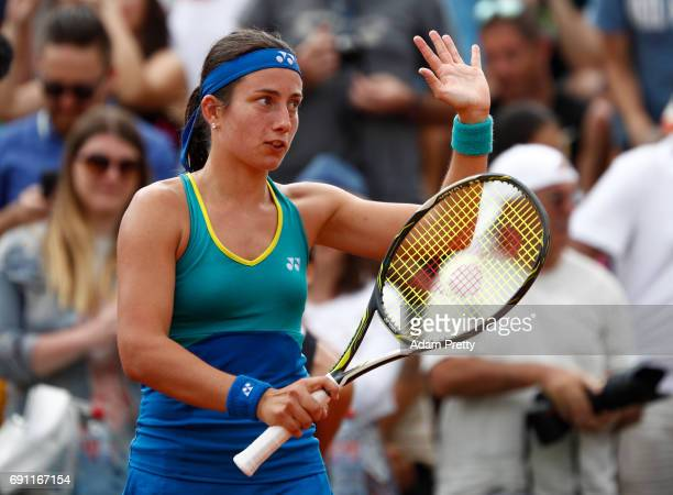 Anastasija Sevastova of Latvia celebrates victory during the ladies singles second round match against Eugenie Bouchard of Canada on day five of the...