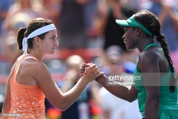 Anastasija Sevastova of Latvia congratulates Sloane Stephens for her 62 62 victory on day five of the Rogers Cup at IGA Stadium on August 10 2018 in...