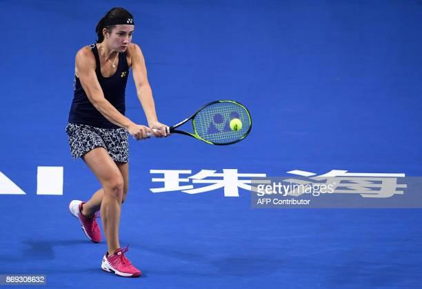 Anastasija Sevastova of Latvia hits a return against Barbora Strycova of the Czech Republic during their women's singles match at the Zhuhai Elite...