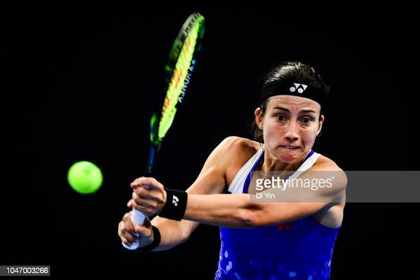 Anastasija Sevastova of Latvia hits a return against Caroline Wozniacki of Denmark during her Women's Singles Finals match in the 2018 China Open at...
