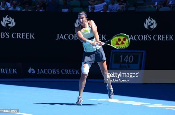 Anastasija Sevastova of Latvia in action against Maria Sharapova of Russia during Women's single match of 2018 Australian Open at Melbourne Park...