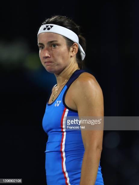 Anastasija Sevastova of Latvia in action against Marketa Vondrousova of Czech Republic during her Women's Singles match on Day One of the Dubai Duty...