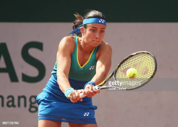 Anastasija Sevastova of Latvia in action in her women's singles third round match against Petra Martic of Croatia during day eight of the French Open...