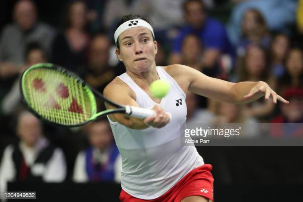 Anastasija Sevastova of Latvia in action while competing against Serena Williams of USA during the 2020 Fed Cup qualifier between USA and Latvia at...
