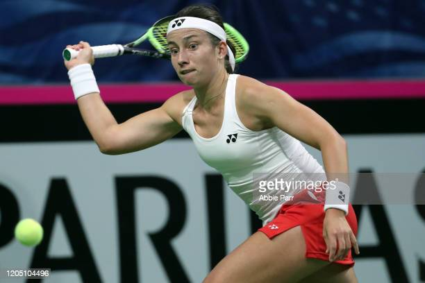 Anastasija Sevastova of Latvia in action while competing against Sofia Kenin of the United States during the 2020 Fed Cup qualifier between USA and...
