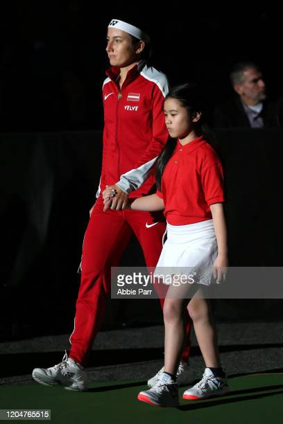 Anastasija Sevastova of Latvia is introduced to the 2020 Fed Cup qualifier between USA and Latvia prior to taking on Serena Williams of the United...