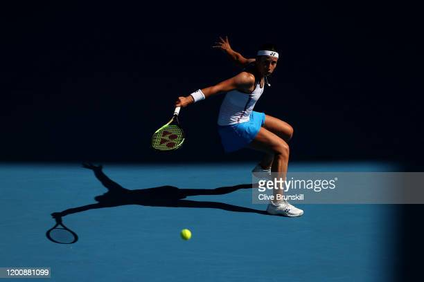 Anastasija Sevastova of Latvia plays a backhand during her Women's Singles first round match against Ajla Tomljanovic of Australia on day two of the...