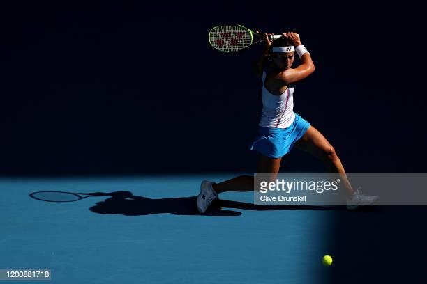 Anastasija Sevastova of Latvia plays a backhand during her Women's Singles first round match against Ajla Tomljanovic of Australia on day two of the...