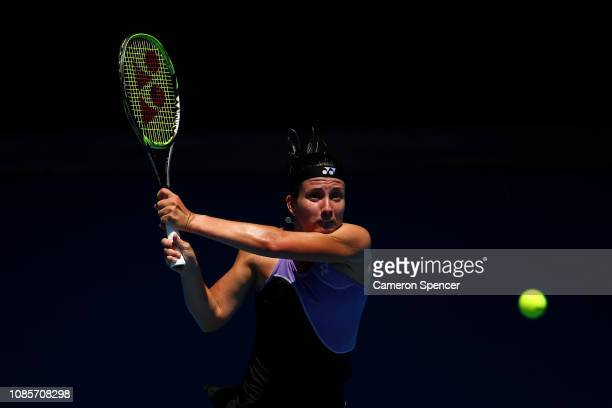 Anastasija Sevastova of Latvia plays a backhand in her fourth round match against Naomi Osaka of Japan during day eight of the 2019 Australian Open...