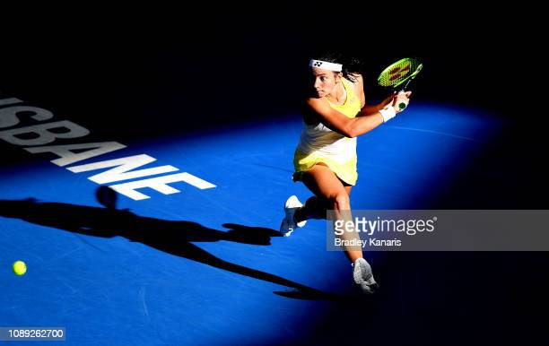 Anastasija Sevastova of Latvia plays a backhand in her match against Naomi Osaka of Japan during day five of the 2019 Brisbane International at Pat...