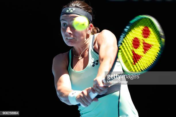 Anastasija Sevastova of Latvia plays a backhand in her second round match against Maria Sharapova of Russia on day four of the 2018 Australian Open...