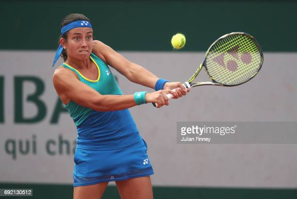 Anastasija Sevastova of Latvia plays a backhand shot in her women's singles third round match against Petra Martic of Croatia during day eight of the...