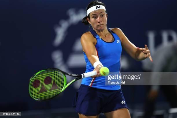 Anastasija Sevastova of Latvia plays a forehand against Marketa Vondrousova of Czech Republic during her Women's Singles match on Day One of the...