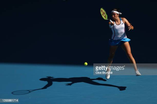 Anastasija Sevastova of Latvia plays a forehand during her Women's Singles first round match against Ajla Tomljanovic of Australia on day two of the...