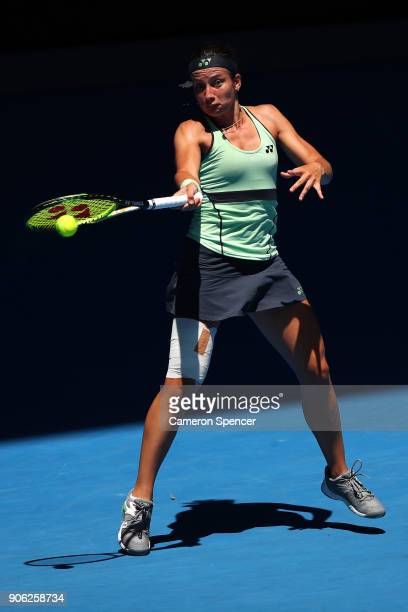 Anastasija Sevastova of Latvia plays a forehand in her second round match against Maria Sharapova of Russia on day four of the 2018 Australian Open...