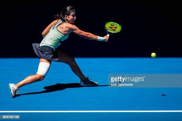 Anastasija Sevastova of Latvia plays a shot in her second round match during the 2018 Australian Open on January 18 at Melbourne Park Tennis Centre...