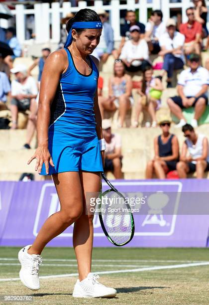 Anastasija Sevastova of Latvia reacts against Tatjana Maria of Germany in the final during day seventh of the Mallorca Open at Country Club Santa...