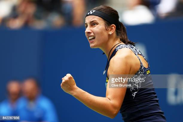 Anastasija Sevastova of Latvia reacts during her women's singles fourth round match against Maria Sharapova of Russia on Day Seven of the 2017 US...