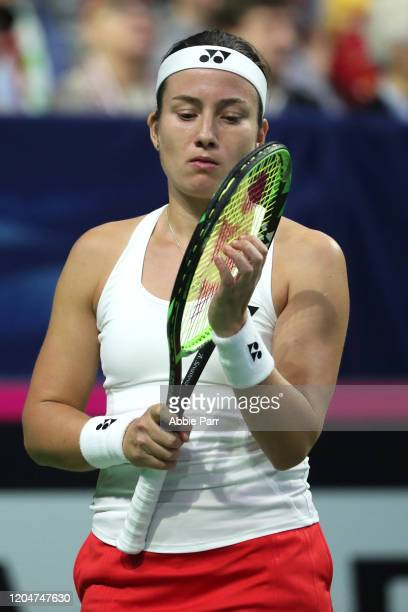 Anastasija Sevastova of Latvia reacts while competing against Sofia Kenin of USA during the 2020 Fed Cup qualifier between USA and Latvia at Angel of...