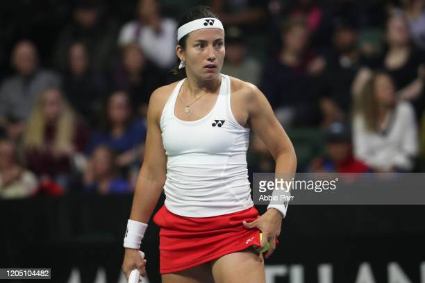 Anastasija Sevastova of Latvia reacts while competing against Sofia Kenin of the United States during the 2020 Fed Cup qualifier between USA and...