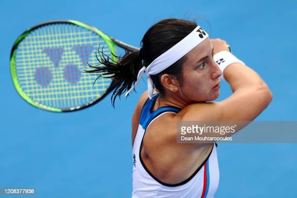 Anastasija Sevastova of Latvia returns a forehand against Anett Kontaveit of Estonia during Day 2 of the WTA Qatar Total Open 2020 at Khalifa...