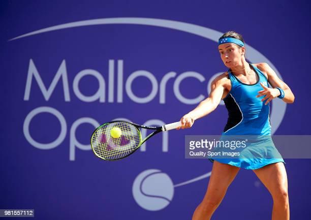Anastasija Sevastova of Latvia returns a shot against Ajla Tomljanovic of Australia during day fifht of the Mallorca Open at Country Club Santa Ponsa...