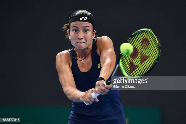 Anastasija Sevastova of Latvia returns a shot against Maria Sharapova of Russia during their first round match on day one of the 2017 China Open at...