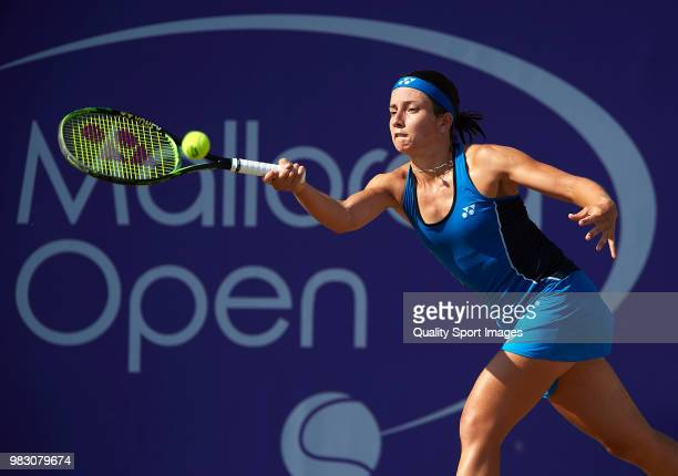 Anastasija Sevastova of Latvia returns a shot against Tatjana Maria of Germany in the final during day seventh of the Mallorca Open at Country Club...