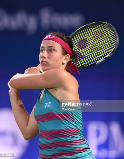 Anastasija Sevastova of Latvia returns a shot during her semi final match against Caroline Wozniacki of Denmark on day six of the WTA Dubai Duty Free...