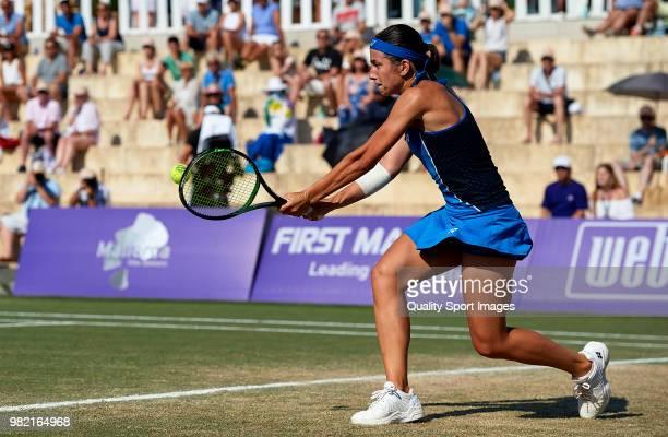 Anastasija Sevastova of Latvia returns a shot during her women's singles match against Samantha Stosur of Australia during day sixth of the Mallorca...