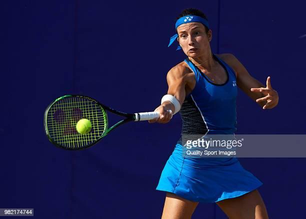 Anastasija Sevastova of Latvia returns a shot during her women's singles match against Samantha Stosur of Australia during day six of the Mallorca...