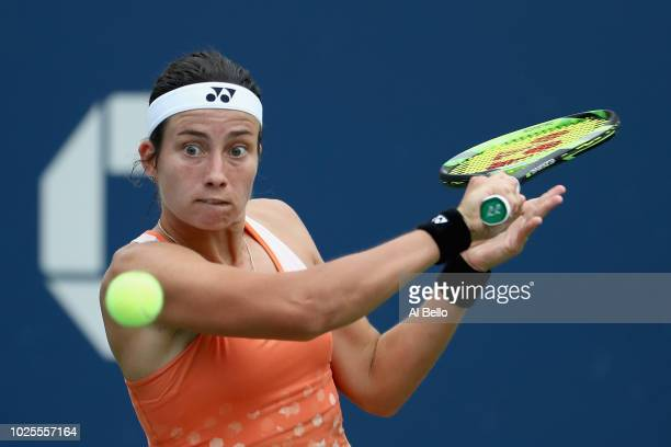 Anastasija Sevastova of Latvia returns the ball during her women's singles third round match against Ekaterina Makarova of Russia on Day Five of the...